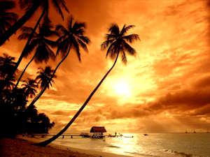 Indonesia インドネシア Bali バリ島のサンセット